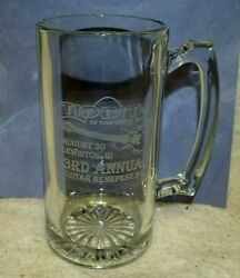 New Acid Etched Glass 24 Oz Beer Stien 3rd Annual Guitar Benefest Lewiston Id