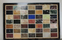 48 X 36 Black Marble Dining Table Top Multi Stones Inlay Work