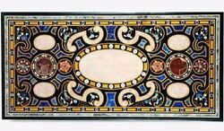 48 X 24 Marble Table Top Lapis Pietra Dura Inlay Art Work Home Furniture