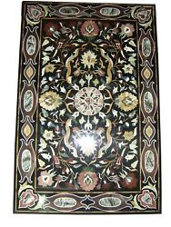 48 X 32 Black Marble Coffee Table Top Pietra Dura Inlay Work For Home Decor