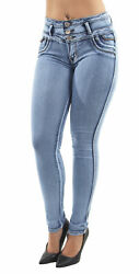 Womenand039s Juniors / Plus Colombian Design Butt Lift Push Up Mid Waist Skinny Jeans