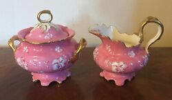 Antique 19th Century Pink Porcelain Sugar And Creamer Abram French And Co. Boston