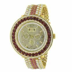 Mens Custom Big Face Xxl Multi Cz Red And Yellow Remove Able Bezel Wrist Watch New