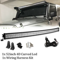 52inch 700w Curved Led Light Barsand Harness Combo Offroad For Truck Atv 50/54