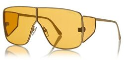 Tom Ford Designer Sunglasses Spector FT0708-33E in Gold with Yellow Lens 72mm