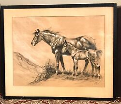 Antique Vintage Dc Muller American Indian 1888-1977 Watercolor Painting Horses