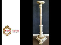 Solid Wood Floor Lamp Finished In Genuine 22k Gold And Paint Finish