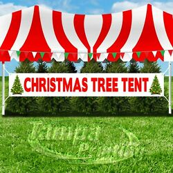 CHRISTMAS TREE TENT Advertising Vinyl Banner Flag Sign LARGE XXL SIZE HOLIDAYS