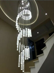 Led Crystal Drop Living Room Chandelier Spiral Staircase Ceiling Lighting Deco