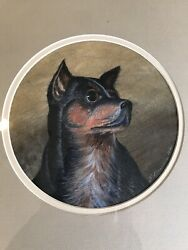 E. SIMPSON CIRCA 1869 EARLY 19thC DOG TERRIER PAINTINGPORTRAIT