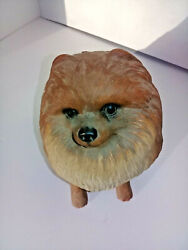 Pomeranian Figurine Statue Hand Painted Sand Art Signed By Artist