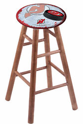 Maple Bar Stool In Medium Finish With New Jersey Devils Seat By The Holland B...