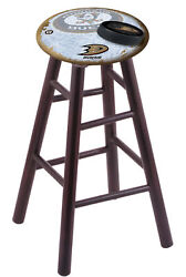 Maple Extra Tall Bar Stool In Dark Cherry Finish With Anaheim Ducks Seat By T...