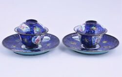 A Pair Of Antique Chinese Canton Enamel Tea Cups With Saucers,18thc
