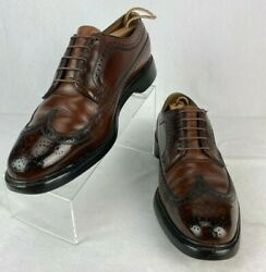 Vintage Florsheim Imperial 93602 Full Brogue Long Wing Cleat 5 Nail Brown 10 D