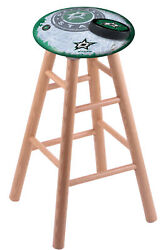 Holland Bar Stool Co. Oak Counter Stool In Natural Finish With Dallas Stars S...
