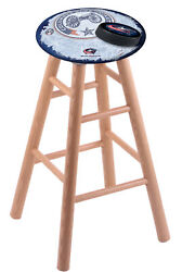 Holland Bar Stool Co. Oak Counter Stool In Natural Finish With Columbus Blue ...