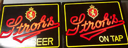 Stroh' S Beer Signs Lighted Neo Plastic Rare Vintage Working Set Of 2 Gorgeous