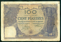 French Indochina 1919 100 Piatres Sign 5 Pick 39. Large Size Hand Signed