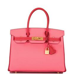 Hermes HSS Bi-Color Rose Azalee and Rouge Casaque Epsom Birkin 30cm Brushed Gold