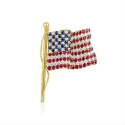 Tiffany & Co. Yellow Gold Diamond Sapphire and Ruby American Flag Pin