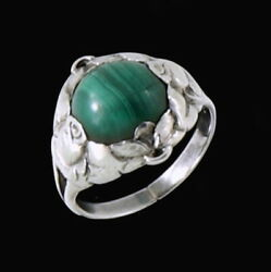 Evald Nielsen 1879 - 1958. Art Nouveau Sterling Silver Ring With Malachite.