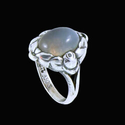 Evald Nielsen 1879 - 1958. Art Nouveau Silver Ring With Moonstone.