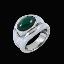 Hans Hansen. Sterling Silver Ring With Malachite. 1960s