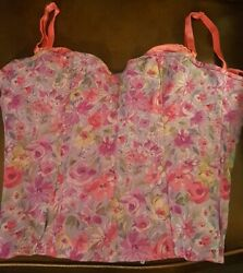 VTG Victorias Secret Sexy Corset Bustier Bra Pink Floral Design Zip Up Womens M