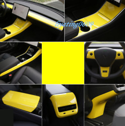 13pcs Yellow Abs Car Interior Kit Cover Trim Fit For Tesla Model 3 2017-19