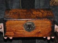 Old Chinese Antique Huanghuali Wood Dynasty Jewelry Vessel Box Storage Box Boxes