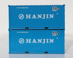 Jtc N Scale 205312 Hanjin 20' Std Height Containers W/magnetic System 2 Pack New