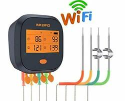 Inkbird Wifi Grill Thermometer Ibbq-4t Rechargeable Wireless Bbq Thermometer ...