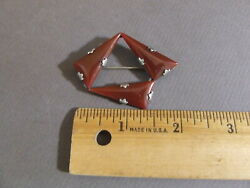 VTG FISHEL NESSLER CO FN CO ART DECO 1920'S CARNELIAN STONE ABSTRACT PIN BROOCH