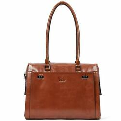 Womens Briefcase Oil Wax Genuine Leather 15.6 Inch Laptop Business Vintage La...