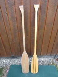 Interesting Old Set 2 Odd Different Oars 54 + 53 Long Boat Wooden Paddles