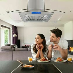 36 Inch Island Range Hood Kitchen Stove Vent Touch Control 900cfm With Led Light