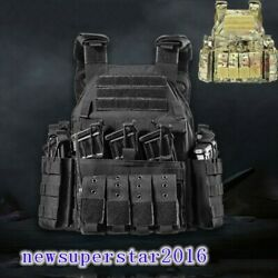 Tactical Vest Waistcoat Armour With Molle Hook And Loop Mag Pouch Flashlight Bag