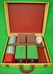 Abercrombie And Fitch Picnic Case/ Table W/ Thermos Canister And 2 Biscuit Tins