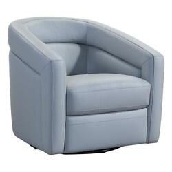 Armen Living Caras Genuine Leather Swivel Accent Chair In Dove Gray