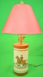Cyril Gorainoff For Abercrombie And Fitch Fox-hunt Hand-painted Table Lamp
