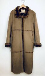 Talbots Faux Shearling Long Coat Size Large Brown Black Faux Mink Lined Heavy
