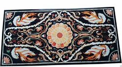 48 X 24 Marble Dining Table Top Semi Precious Stones Inlay Handcrafted Work