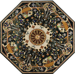 48 X 48 Black Marble Dining Handmade Inlay Table Top Home Decor