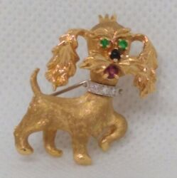 Vintage Signed Danker 14K Yellow Gold Terrier Dog Pin accented with colorful