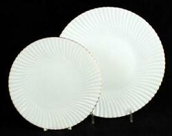 Raynaud Atlantide Gold Dinner Plate + Salad Plate Showroom Inventory A+ Cond