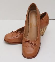 Vintage 1970s Womens 6.5 Nobil's Brown Stitched Leather Stacked Wood Heels