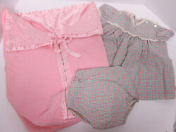 Vintage 1950's Baby Girl Pink Stroller Buggy Bunting Blanket Dress Clothes