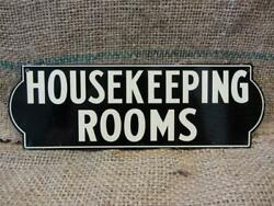 Vintage Metal Housekeeping Rooms Sign Antique Store Old Signs Business 7789