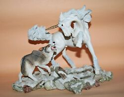 Fables Royal Doulton Unicorn Vs Wolf Courage By Andrew Hull Einhorn Rare